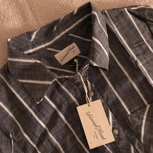 Short Sleeve Striped Tie Front Button-Down